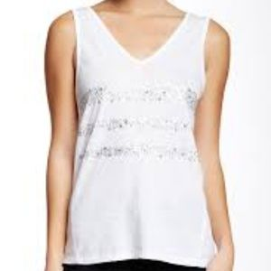 NWT DKNY JEANS WHITE SEQUIN PATCHWORK TANK